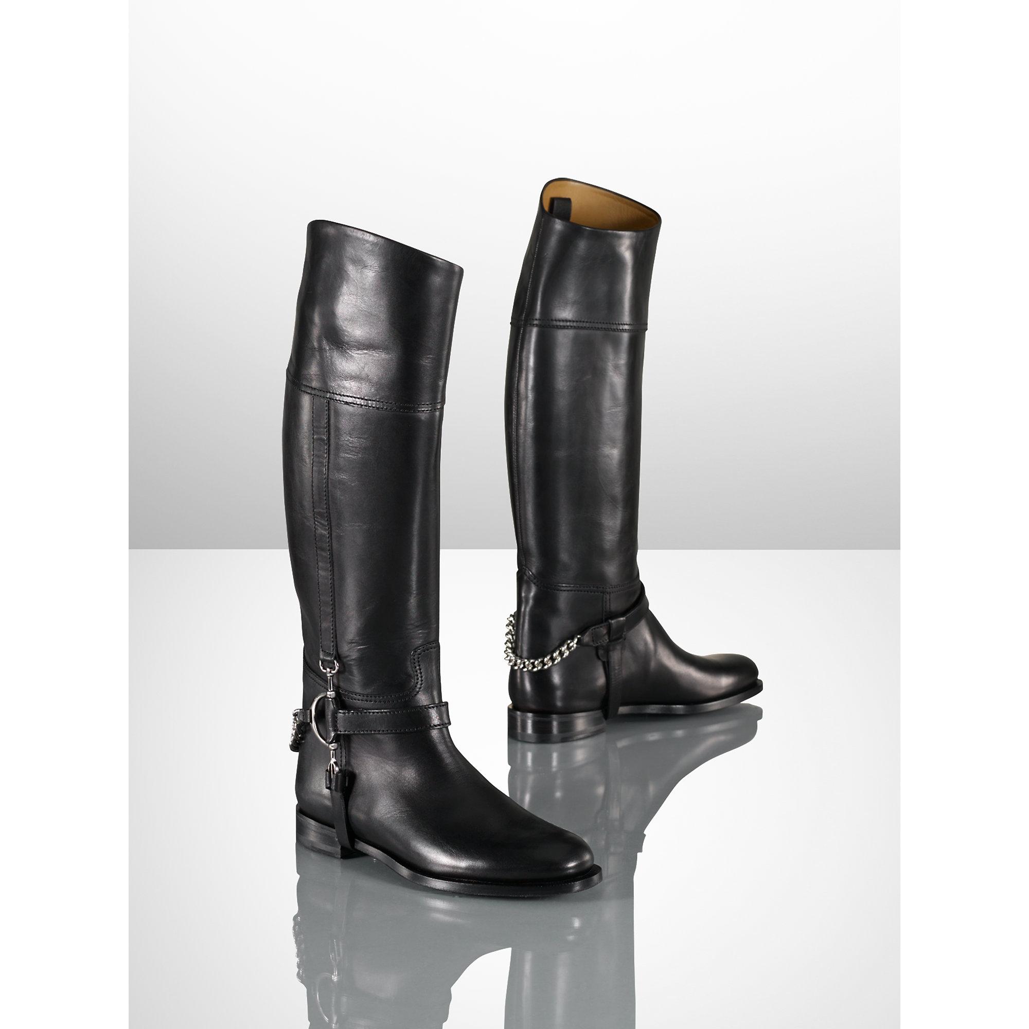 Ralph lauren Calf Chain Sandra Riding Boot in Brown (tan