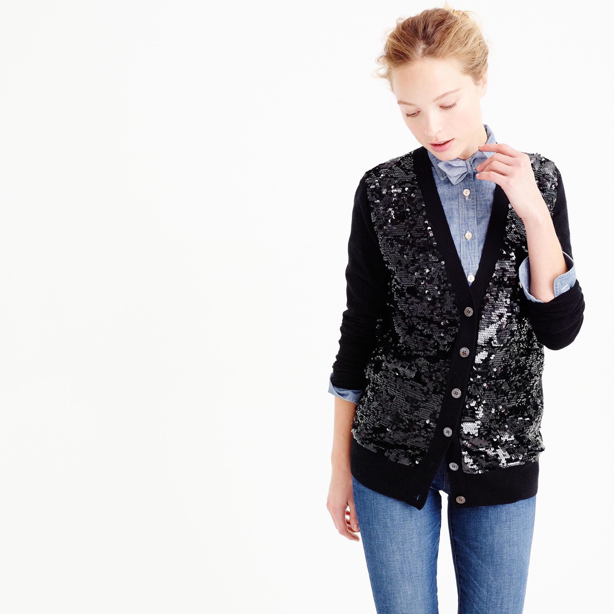 J.crew Sequin Cardigan Sweater in Black | Lyst