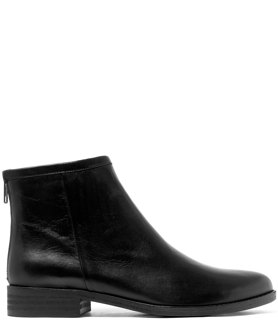 sessun black cullen flat leather ankle boots in black lyst