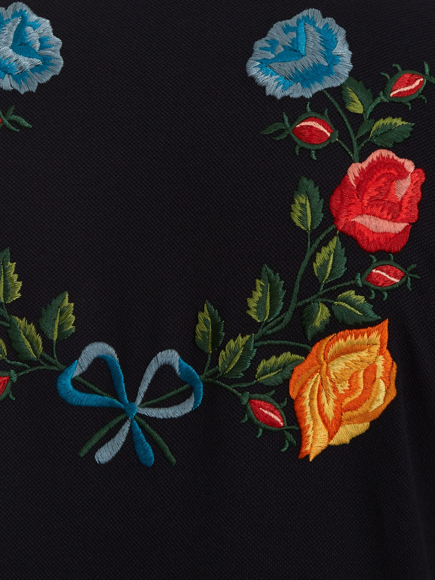6df9fd0998 Gucci Floral-embroidered Cotton-blend Polo Shirt in Black for Men - Lyst