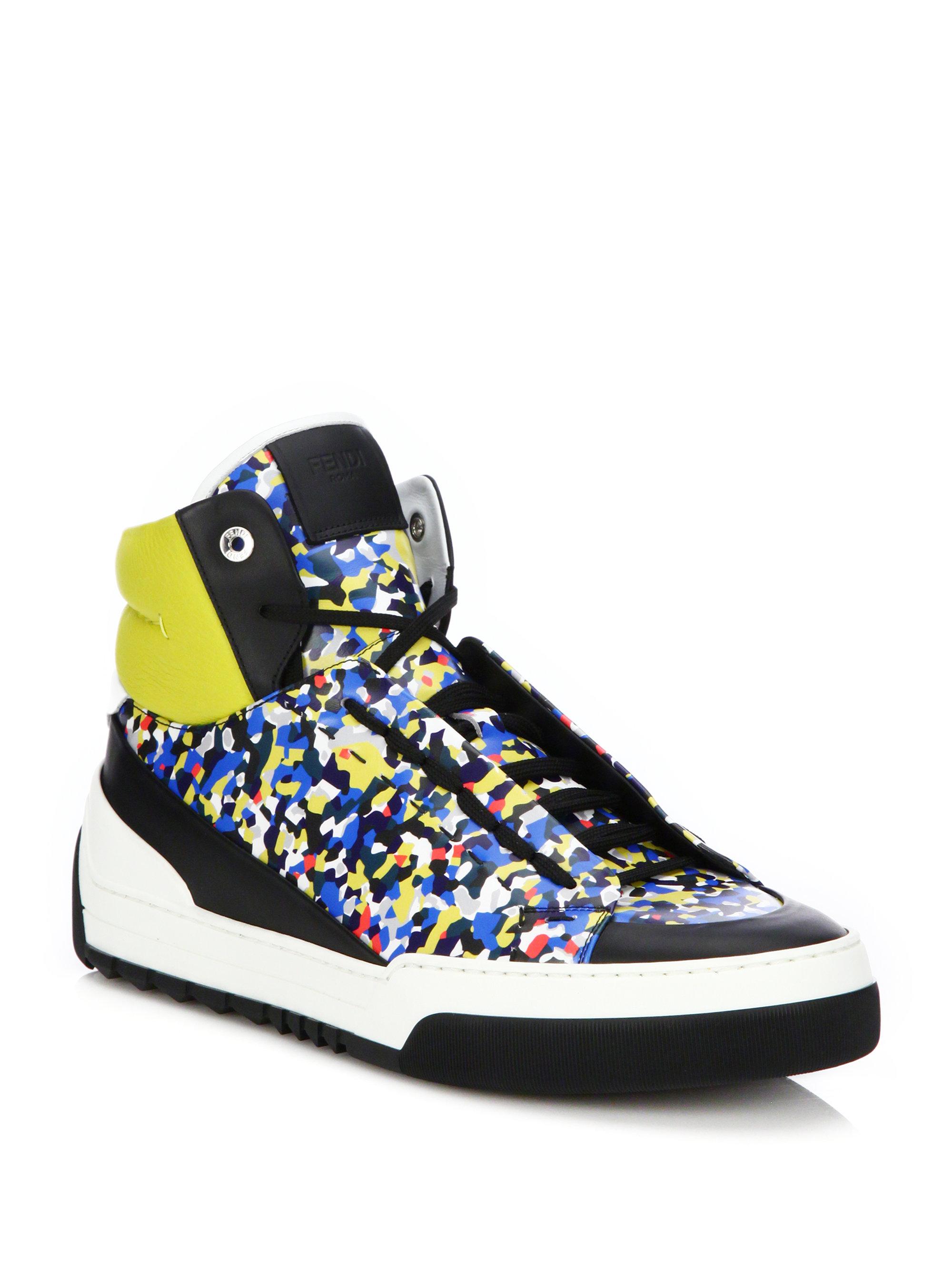 8f2326e7c5 Fendi Multicolor Multi Color High Top Sneakers for men