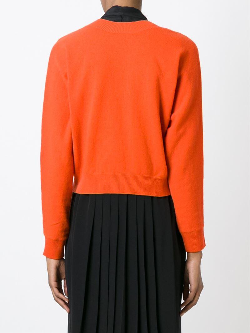 Erika cavallini semi couture Buttoned Cropped Cardigan in Orange ...
