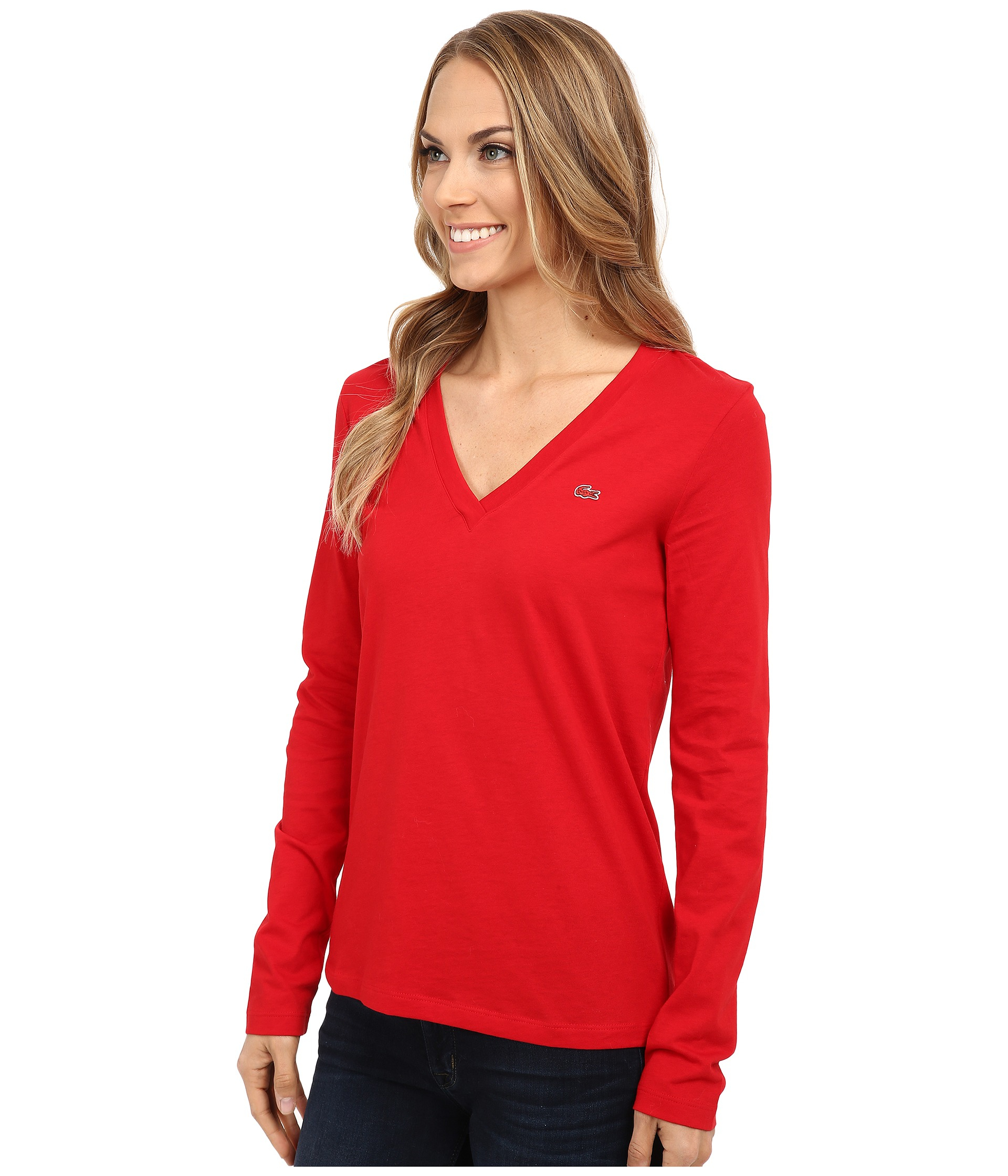 Lyst - Lacoste Long Sleeve Cotton Jersey V-neck Tee Shirt in Red d37e98d14