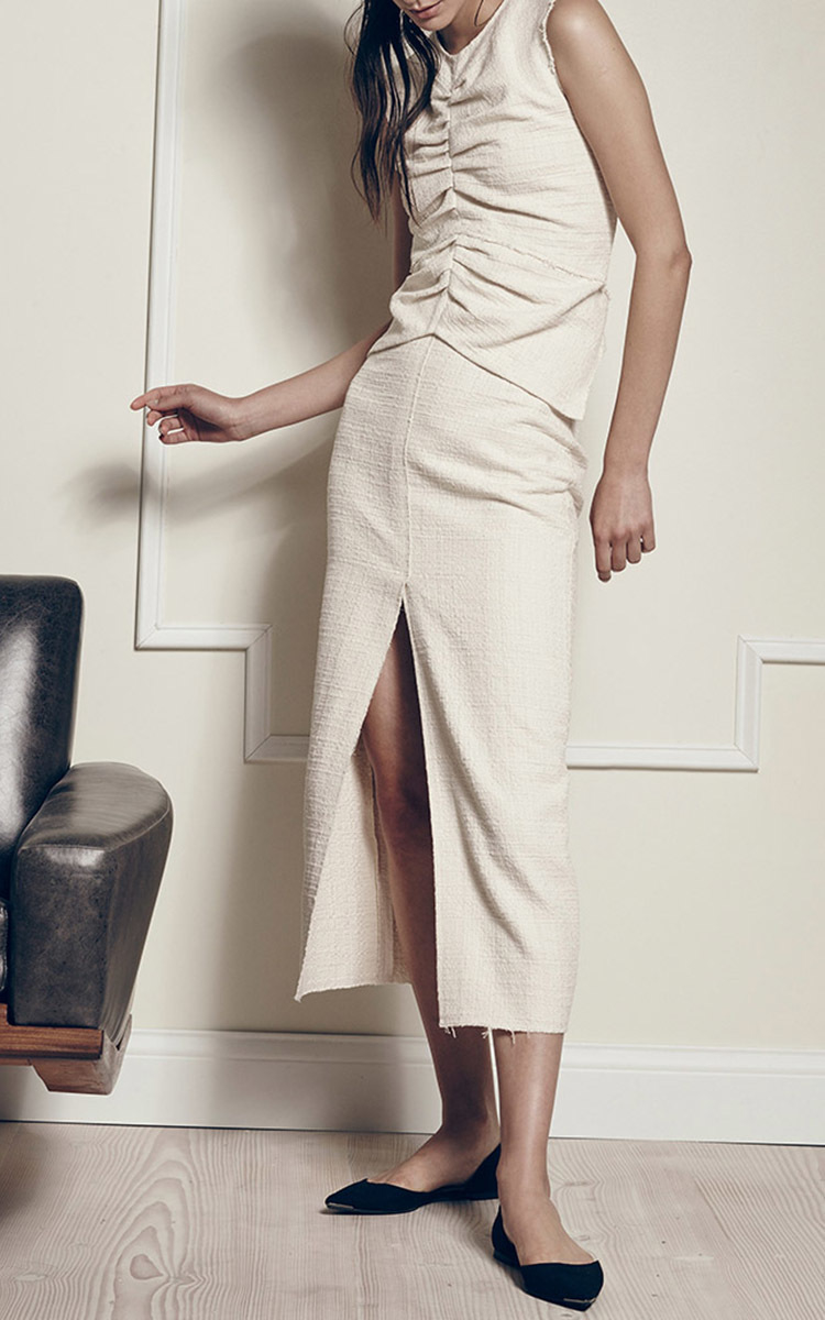 hellessy lida tweed midi skirt in white white lyst
