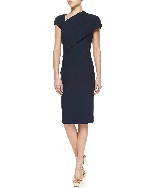 d59ea38170b Ralph Lauren Collection Sonya Side-Draped Sheath Dress in Blue - Lyst