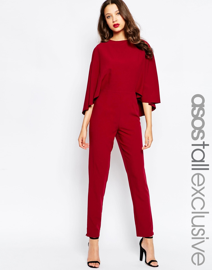 Asos Tall Cape Sleeve Jumpsuit in Purple | Lyst