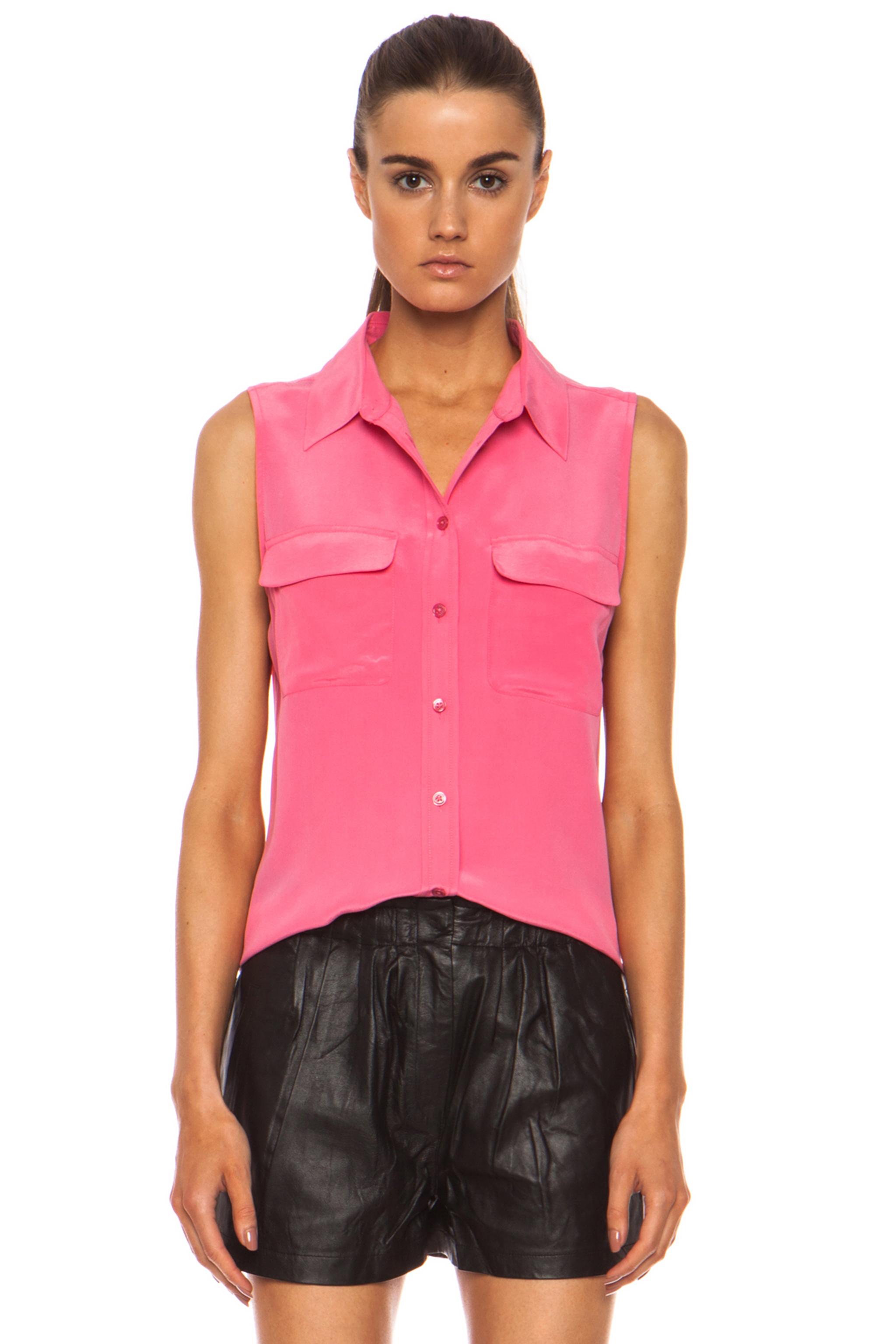 Equipment slim signature silk blouse in pink lyst for Equipment signature silk shirt
