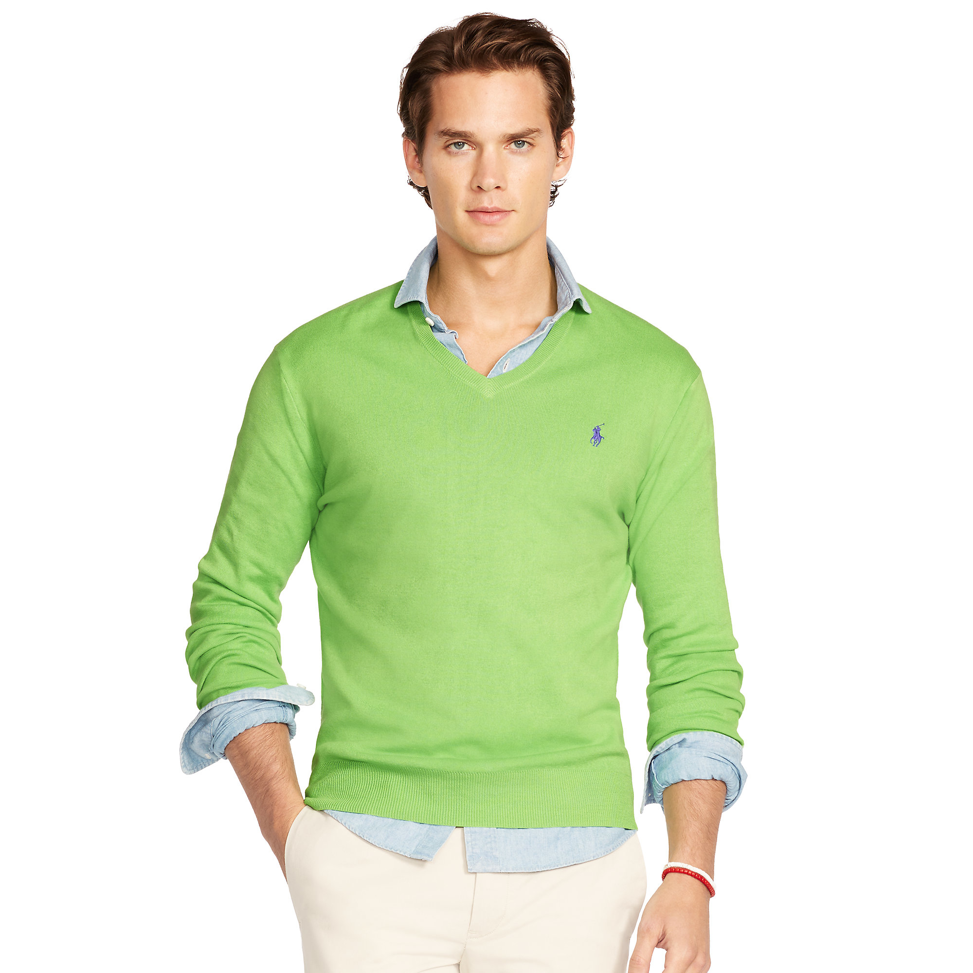 85de415d63 Polo Ralph Lauren Green Pima Cotton V-neck Sweater for men