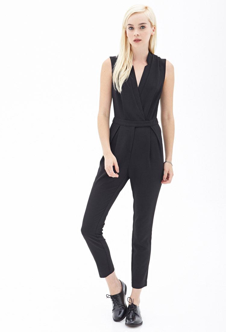 fa083f93e0a Lyst - Forever 21 Woven Surplice Jumpsuit in Black