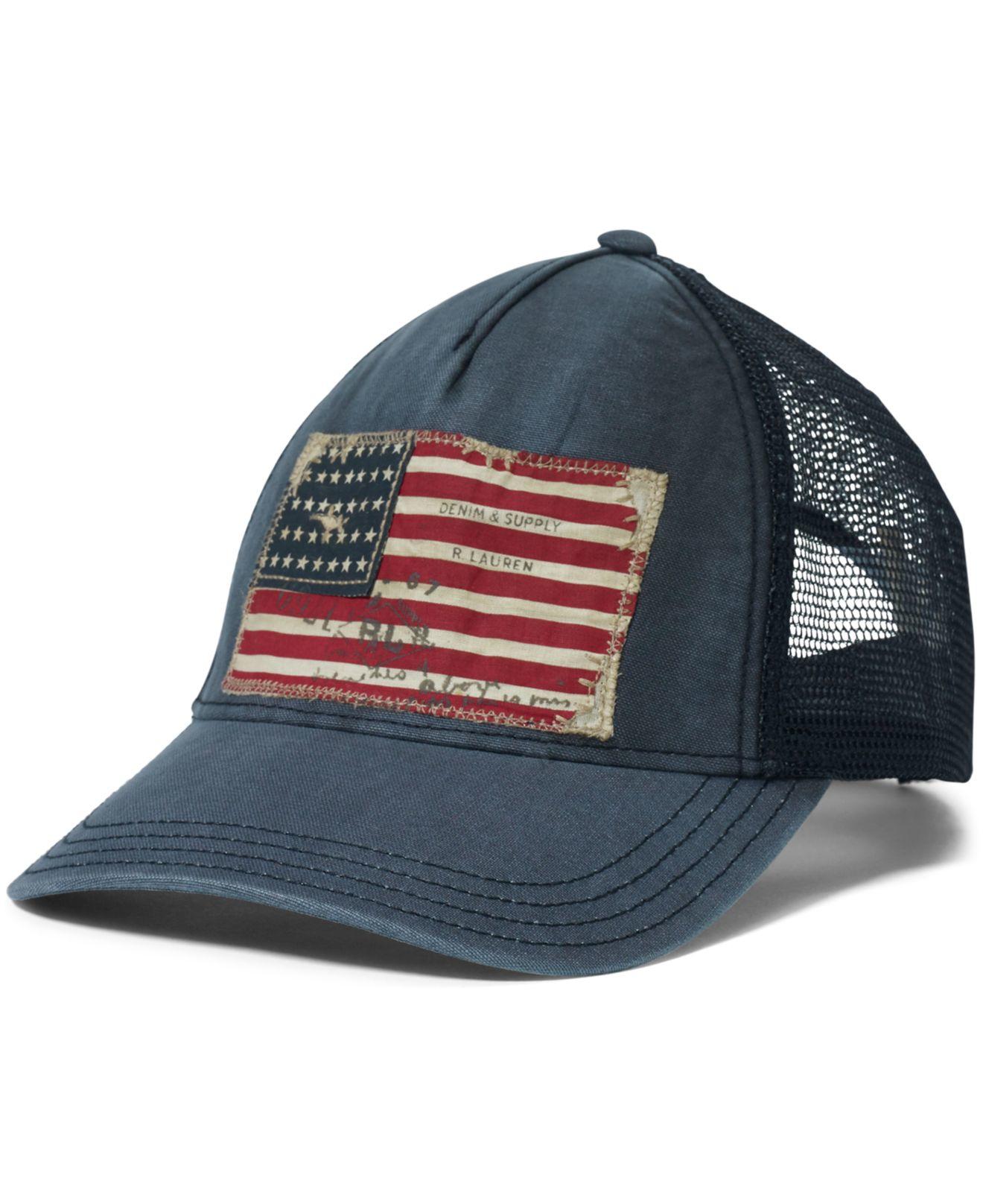Lyst - Denim   Supply Ralph Lauren Flag Chino Trucker Hat in Blue ... a4709fd243f
