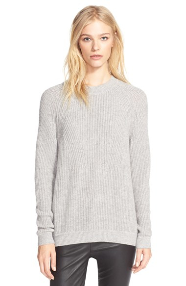 Vince Directional Rib Knit Wool & Cashmere Sweater in Gray | Lyst