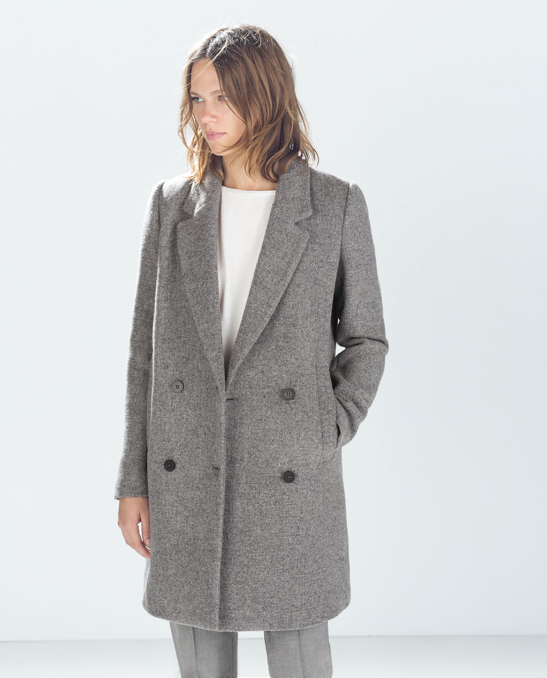 Zara Structured Coat In Gray Lyst