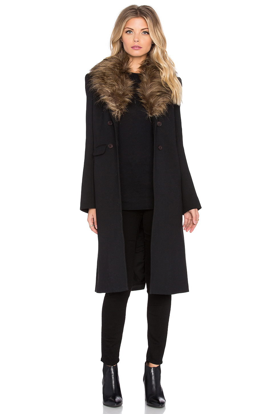 Smythe Faux Fur Collar Tailored Coat in Black | Lyst