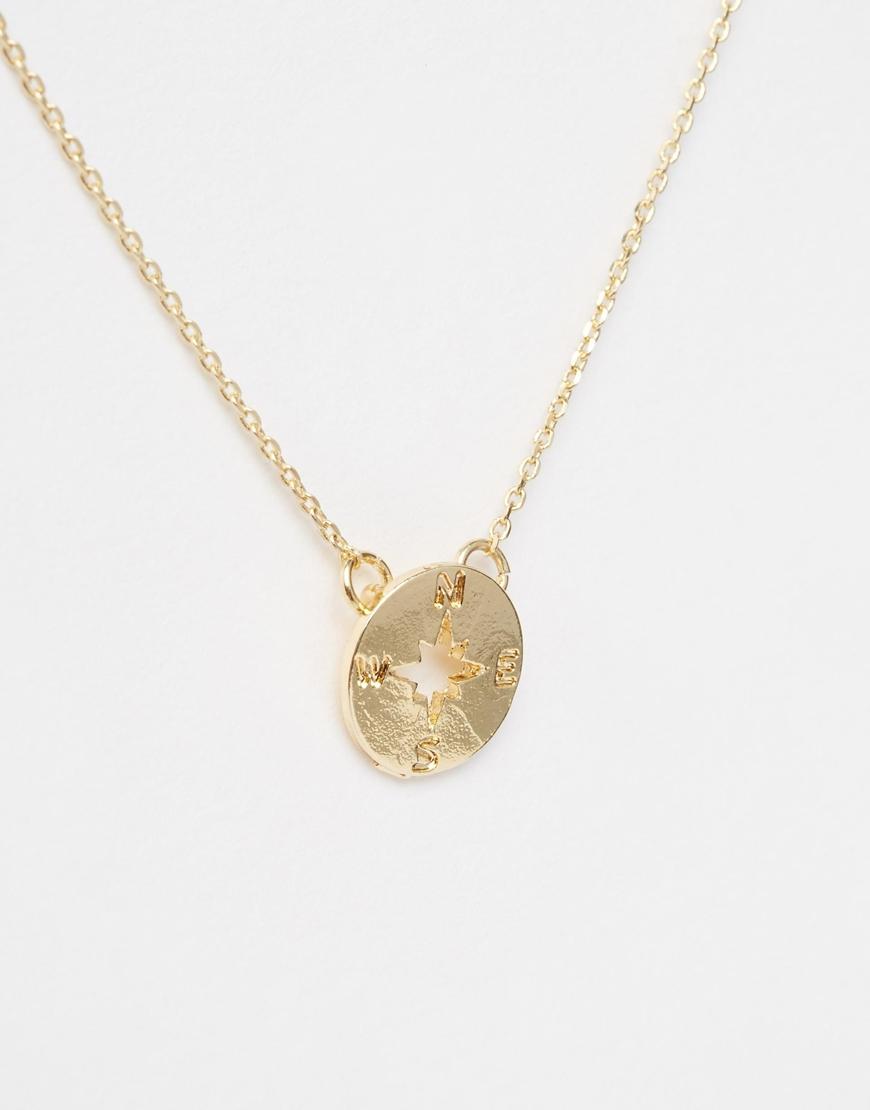 Asos Compass Necklace in Metallic