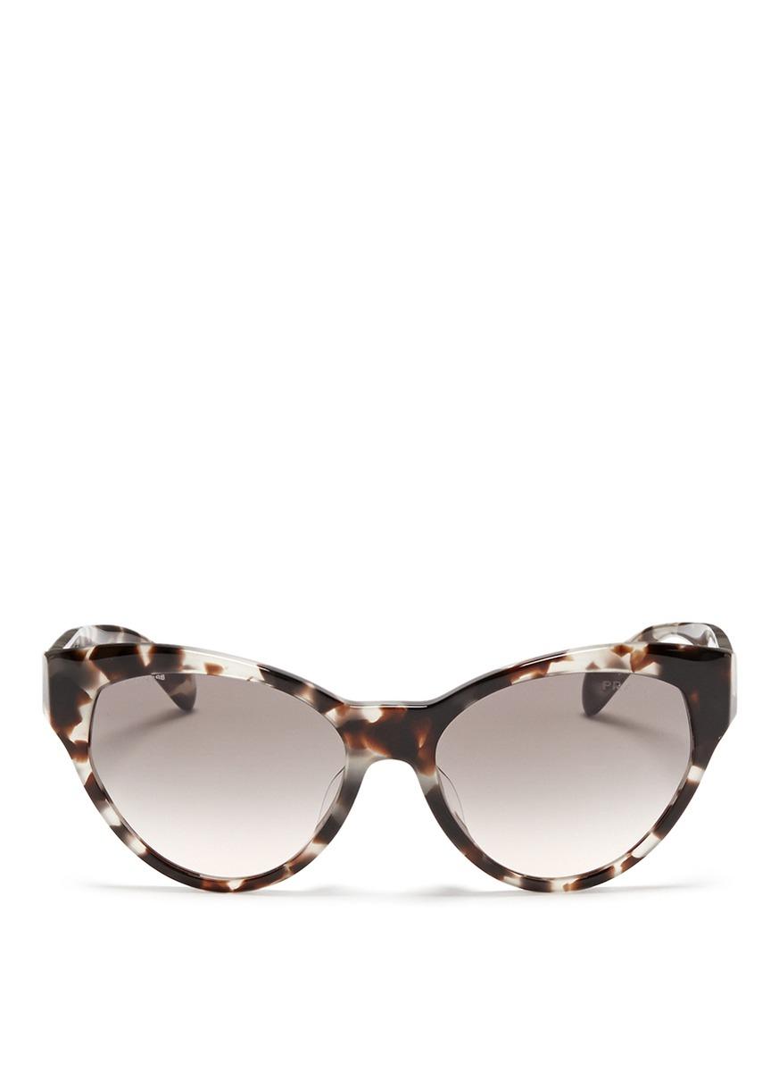 56c6b336cc5 ... coupon code for lyst prada tortoiseshell acetate cat eye sunglasses in  brown 42a99 fed1e ...