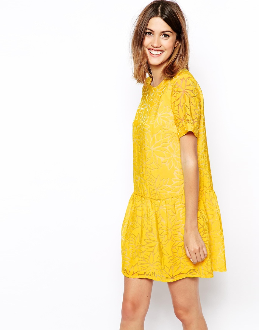 asos dress in floral burnout in yellow  lyst