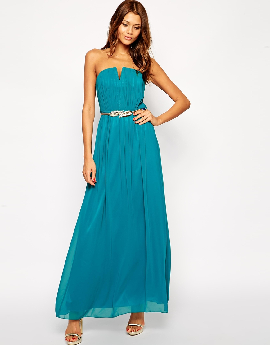 Lyst - Little Mistress Bandeau Pleated Maxi Dress With Gold Belt in Blue