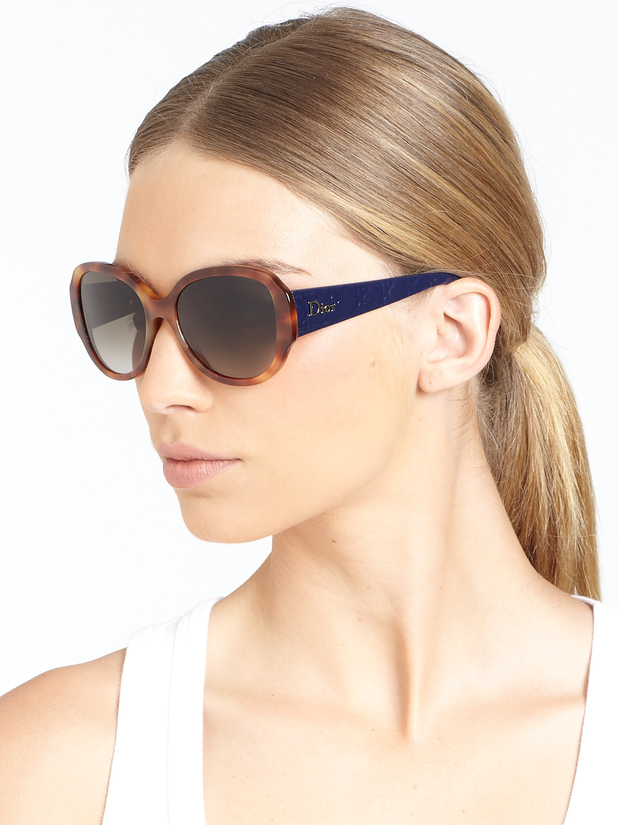 e39a8bf86b Dior Lady in Oversized Round Plastic Sunglasses in Pink - Lyst