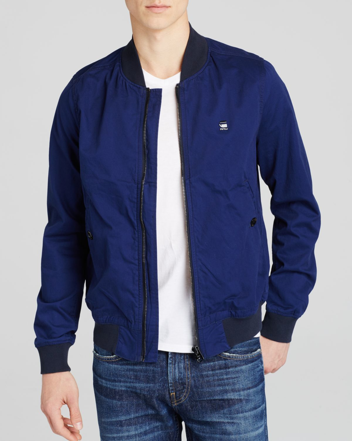 g star raw shattor bomber jacket in blue for men lyst. Black Bedroom Furniture Sets. Home Design Ideas