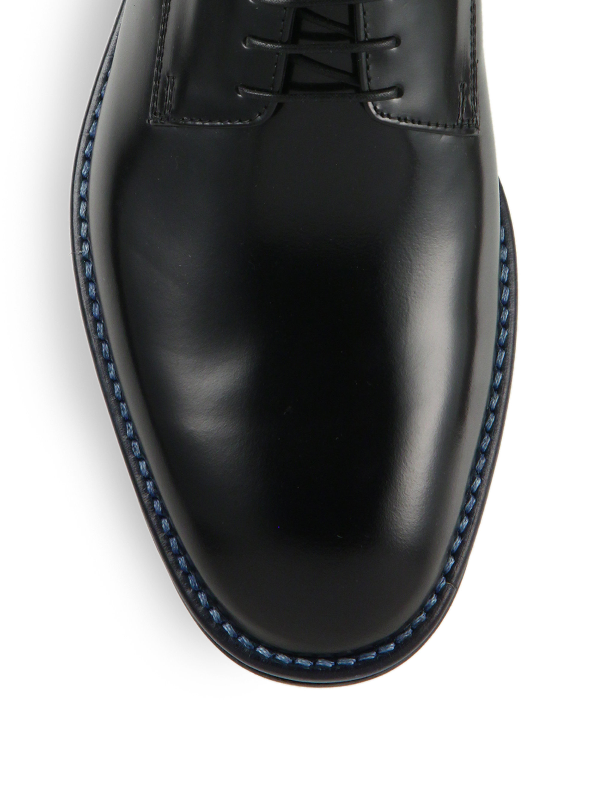 Lyst Z Zegna Leather Plain Toe Derby Shoes In Black For Men