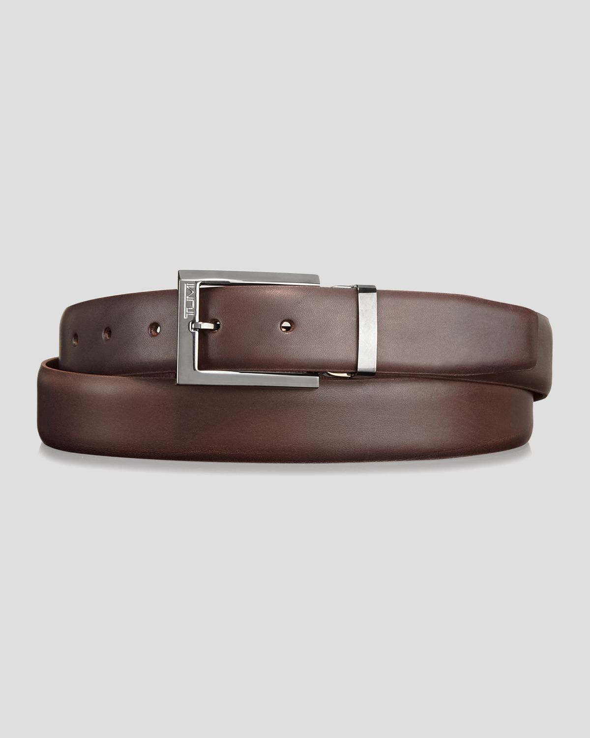 tumi smooth leather belt in brown for lyst