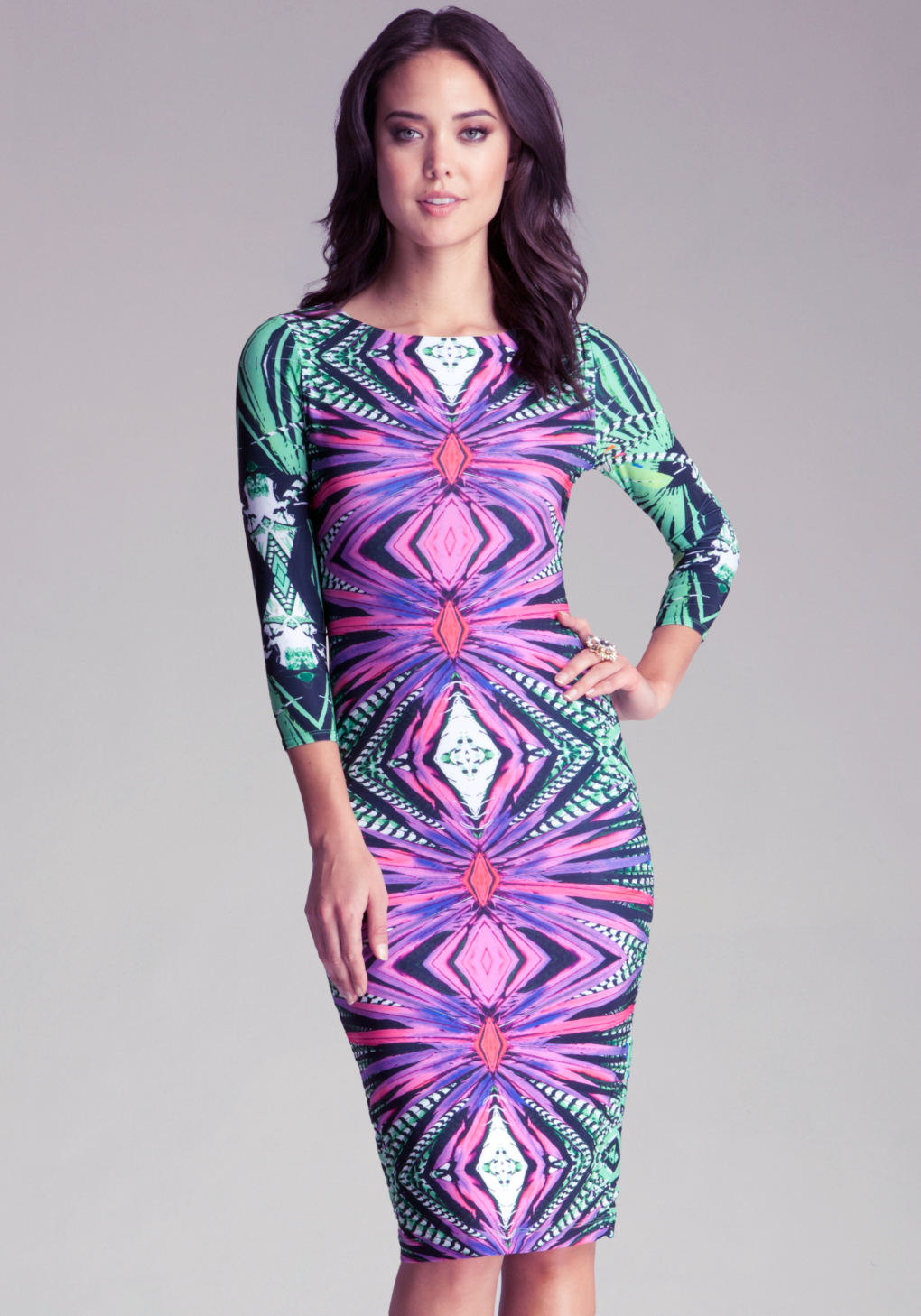 Bebe Printed Midi Bodycon Dress In Purple Lyst