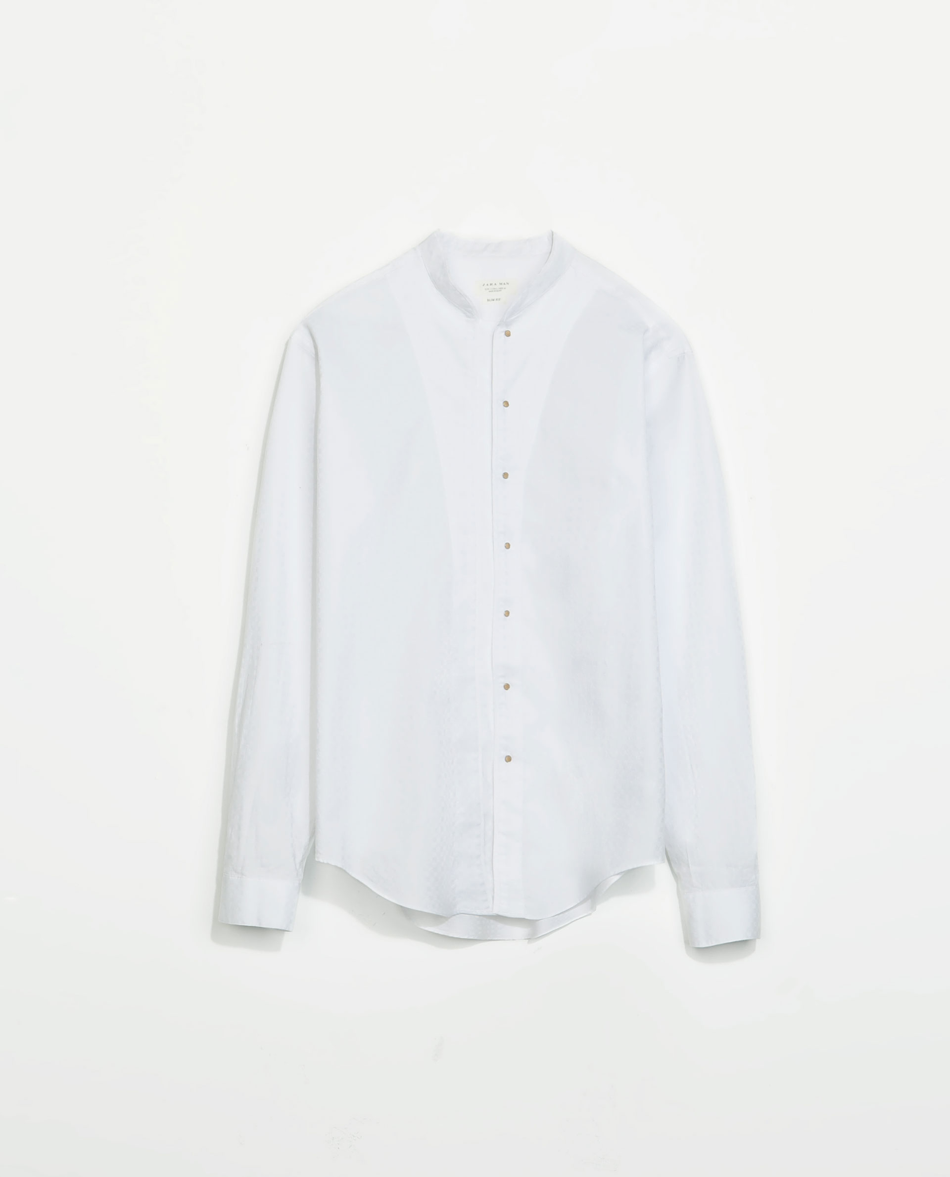 Zara structured shirt with mao collar and snap buttons in for Mens shirts with snaps instead of buttons
