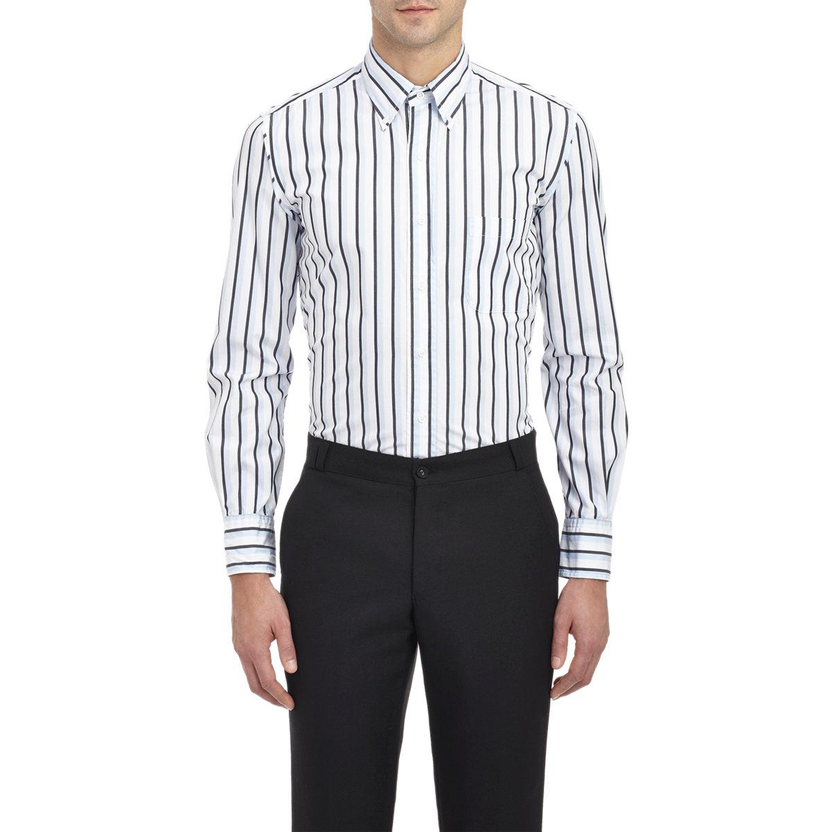 Lyst thom browne stripe poplin shirt in white for men for Thom browne white shirt
