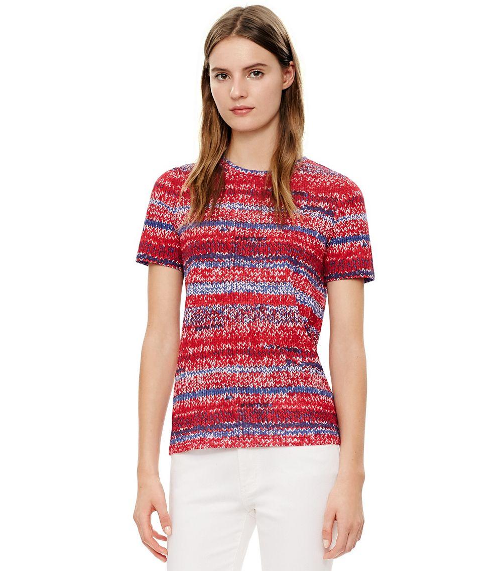 Tory burch 39 connie 39 knit print pima cotton t shirt in blue for Tory burch t shirt