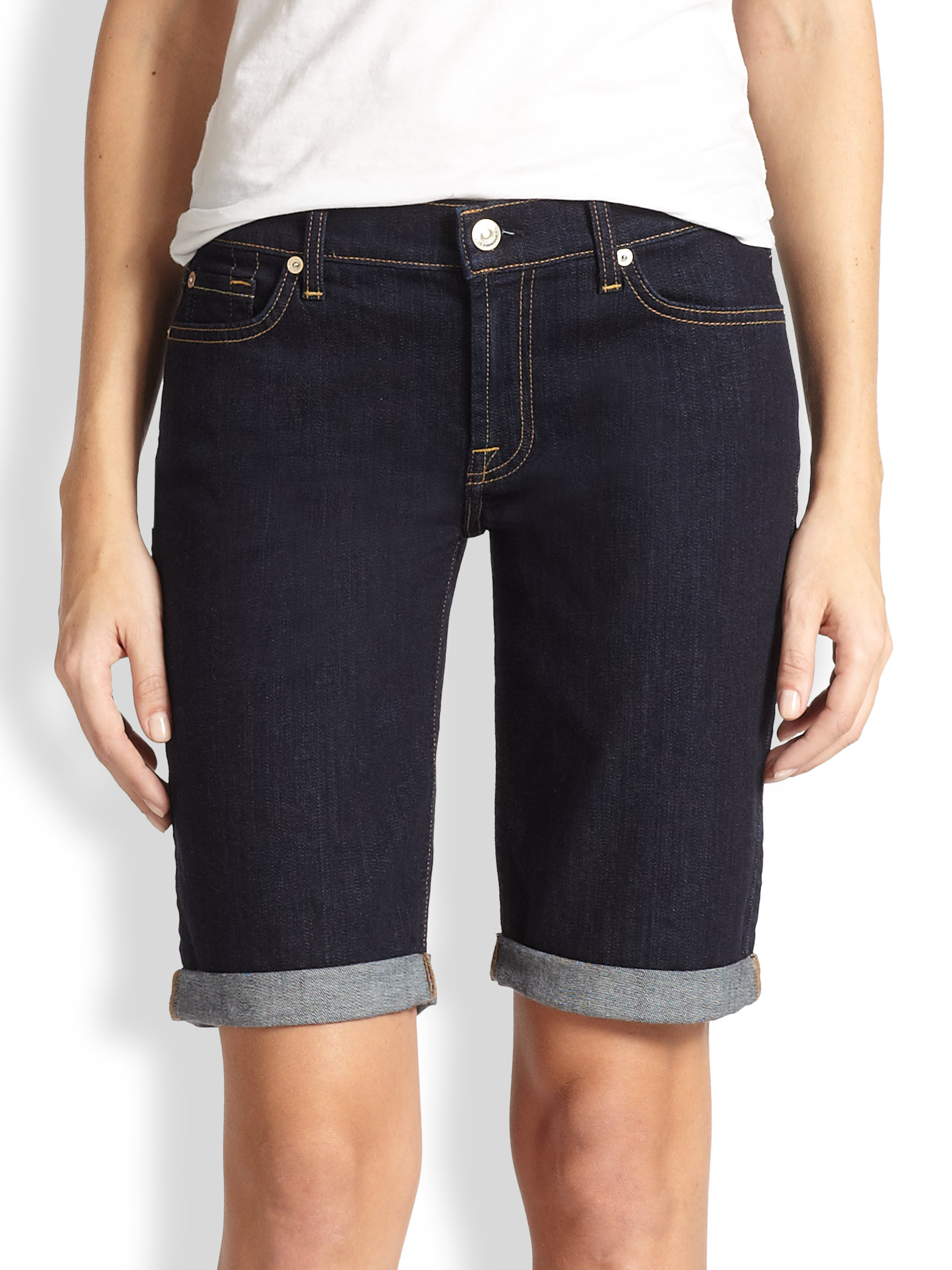 Lyst - 7 For All Mankind Stretch Denim Bermuda Shorts in Blue