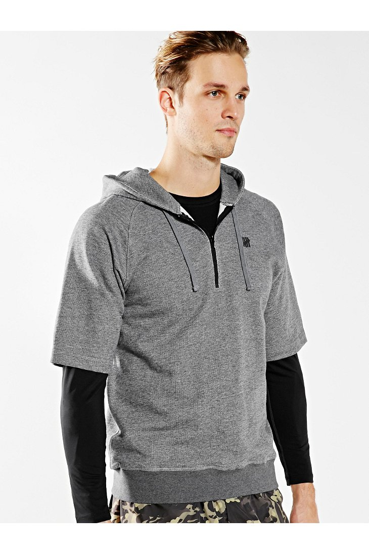 Undefeated Tech Short-Sleeve Hoodie Sweatshirt in Gray | Lyst