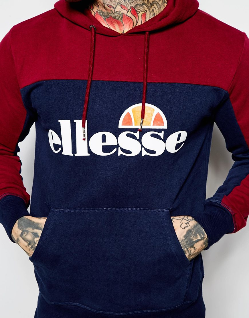 fa1b1b5f Ellesse Blue Panelled Hoodie for men