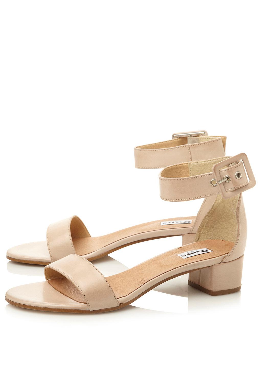 ec8cf8c8882 TOPSHOP Fran Two Part Low Block Heel Sandals By Dune in White - Lyst