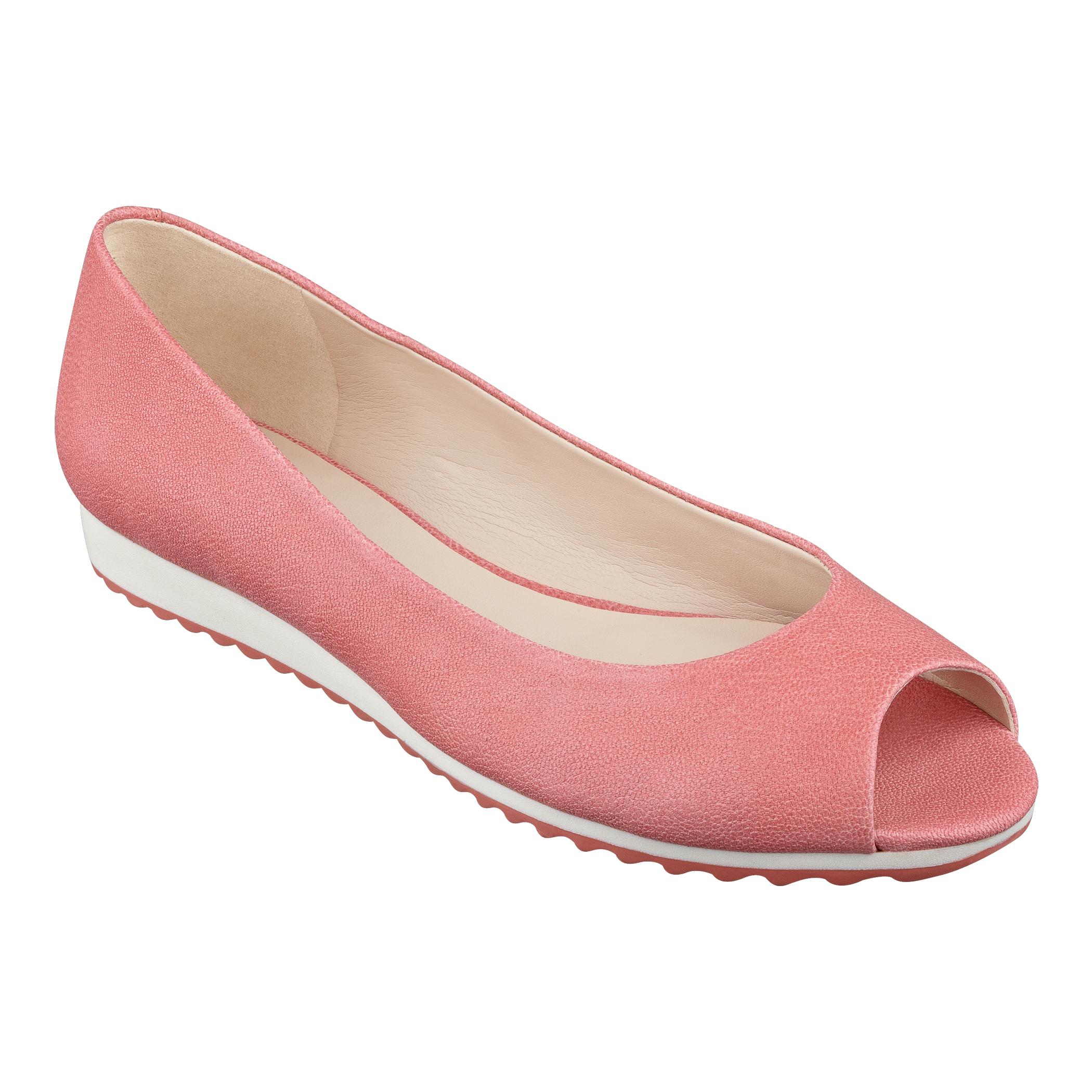 Womens Leather Peep Toe Flat Shoes