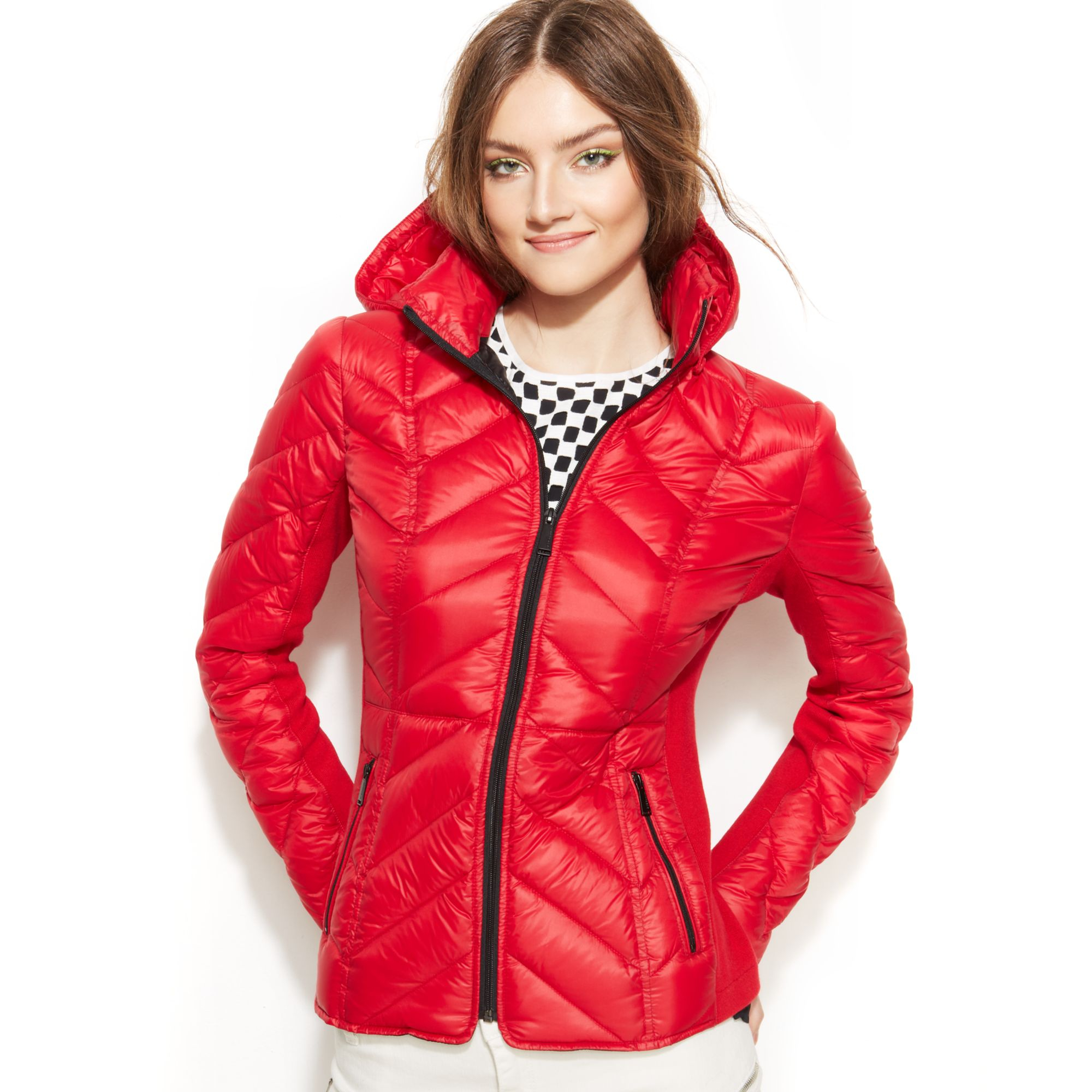 Women S Red Quilted Jacket Ladies Parka Jacket Brave Soul