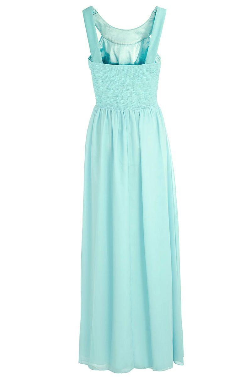 Quiz Chiffon Beaded Maxi Dress in Blue - Lyst