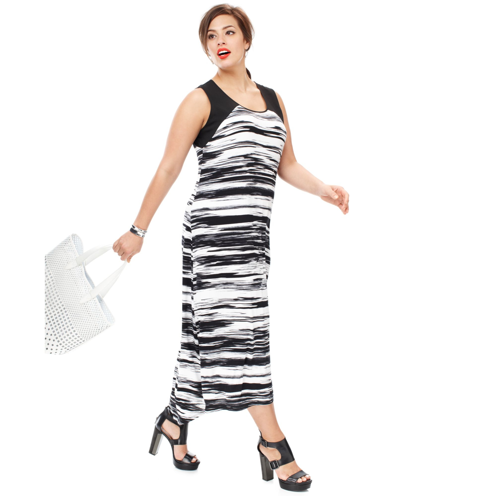 Calvin Klein Black Plus Size Sleeveless Printed Highlow Maxi Dress