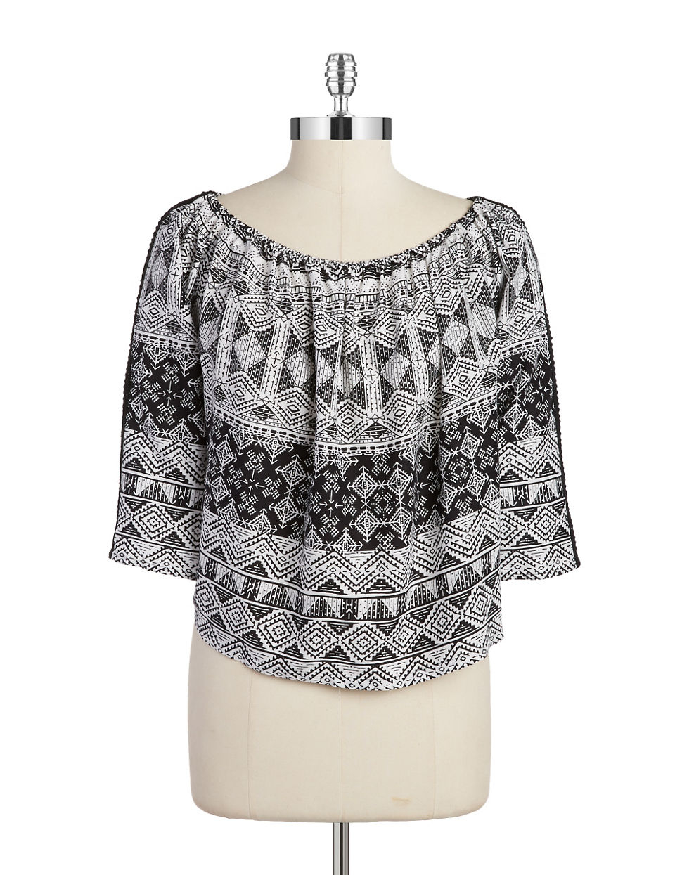 Lyst Lord Taylor Patterned Off The Shoulder Top In Black