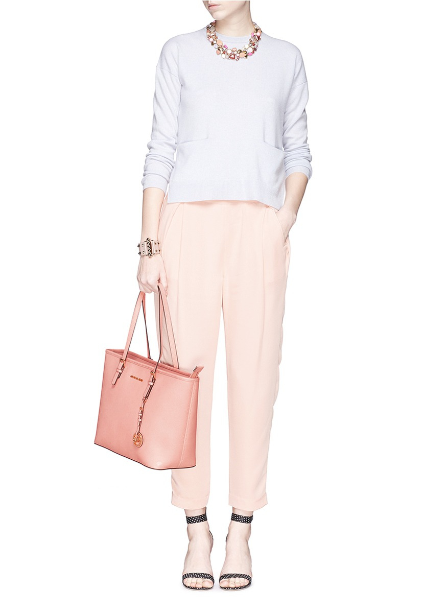 63ca6a6fa65b78 Michael Kors 'jet Set Travel' Saffiano Leather Top Zip Tote in Pink - Lyst