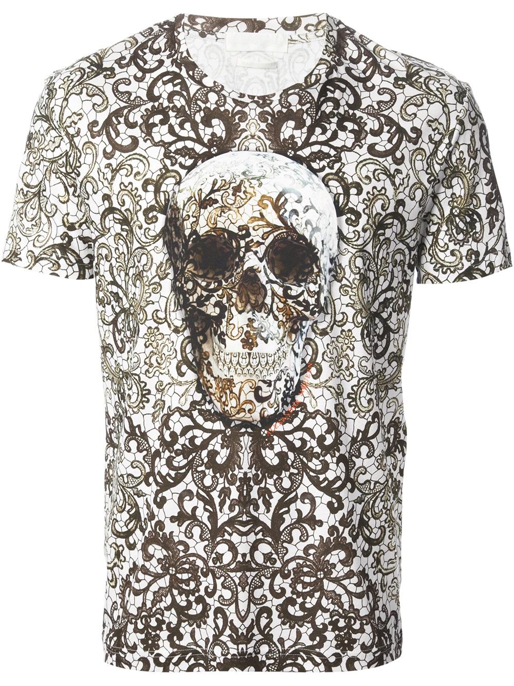 237c0becd Alexander McQueen Baroque Skull Print Tshirt in White for Men - Lyst
