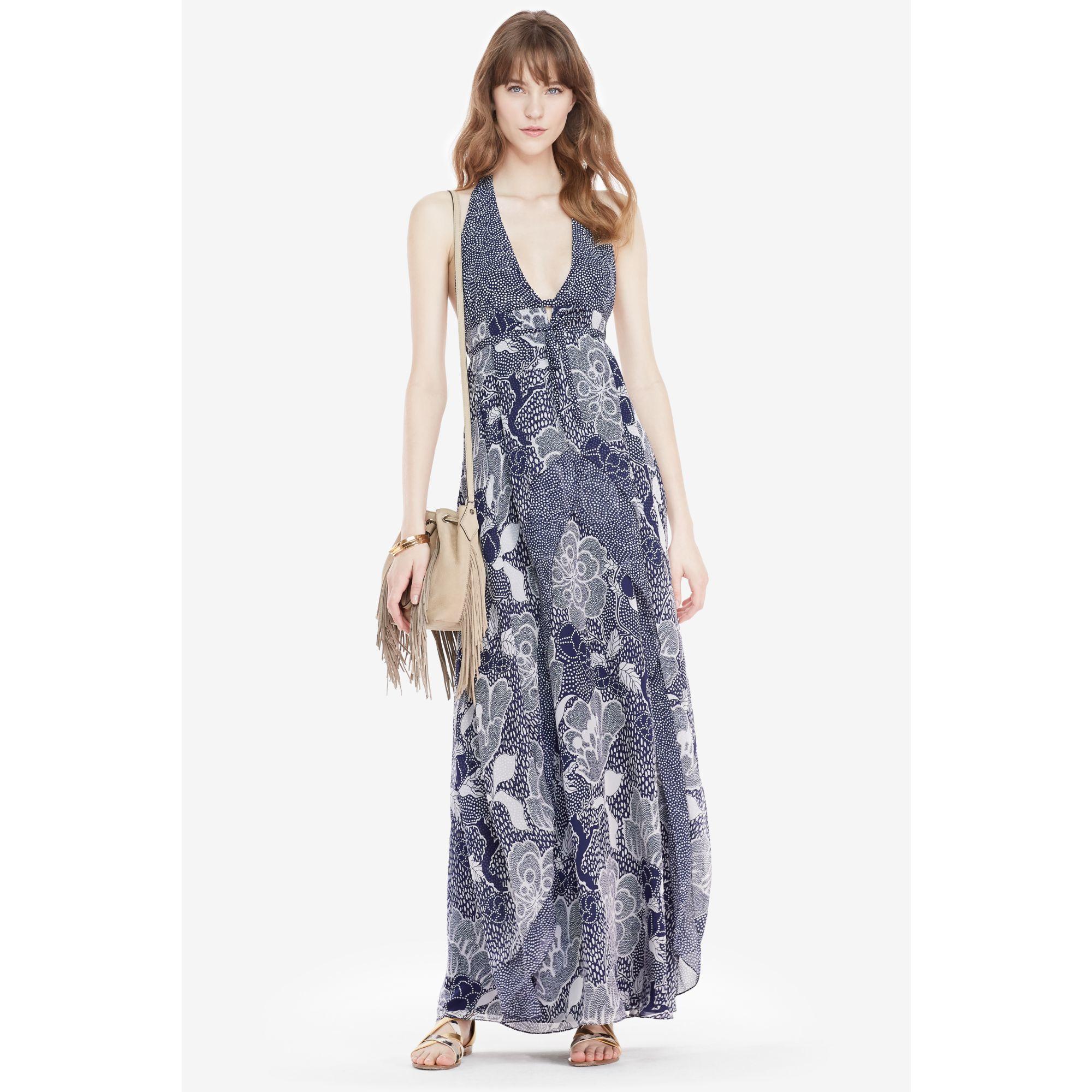 Diane von furstenberg Dvf Fantasia Silk Halter Maxi Dress in Blue ...
