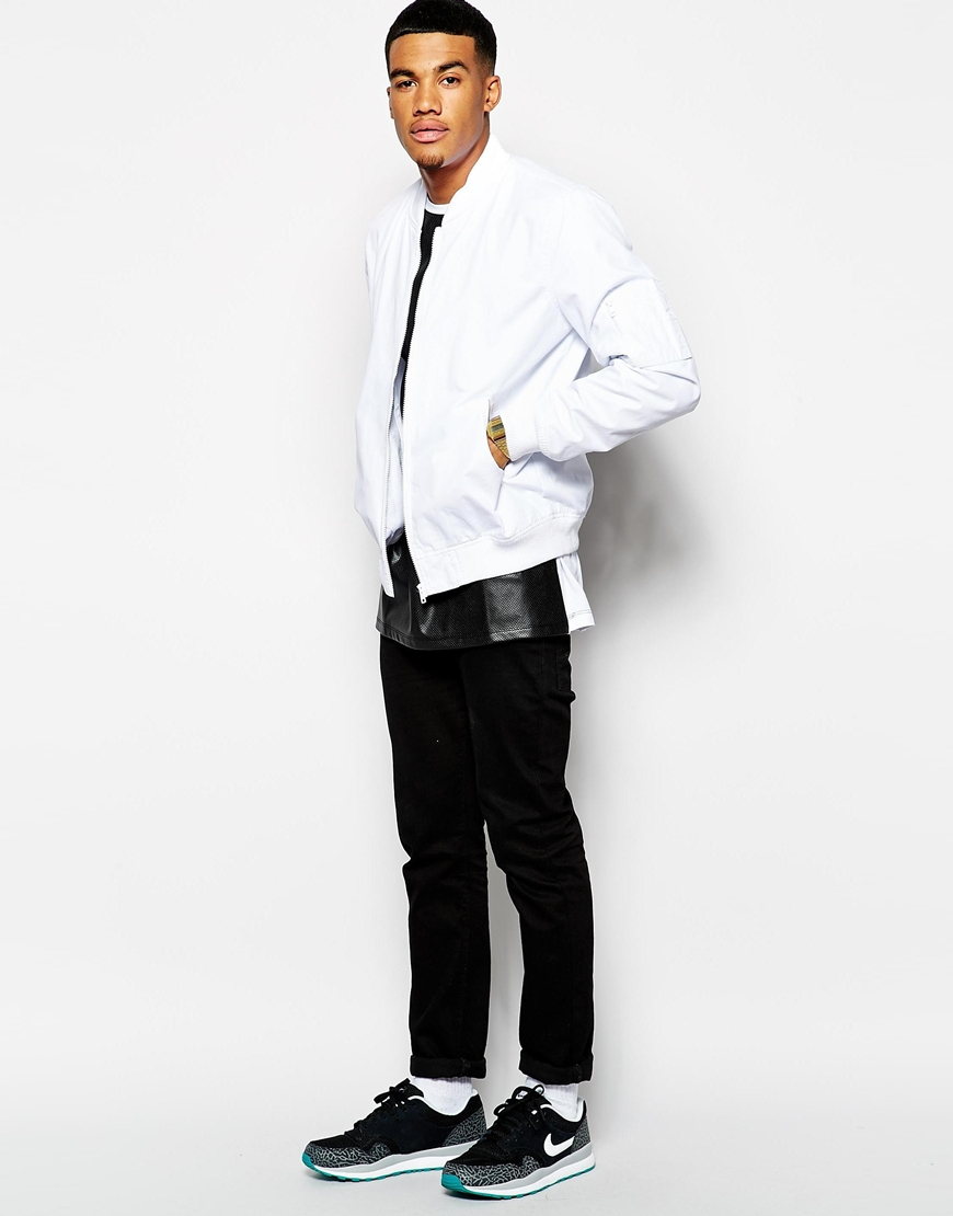 Asos Bomber Jacket in White for Men | Lyst