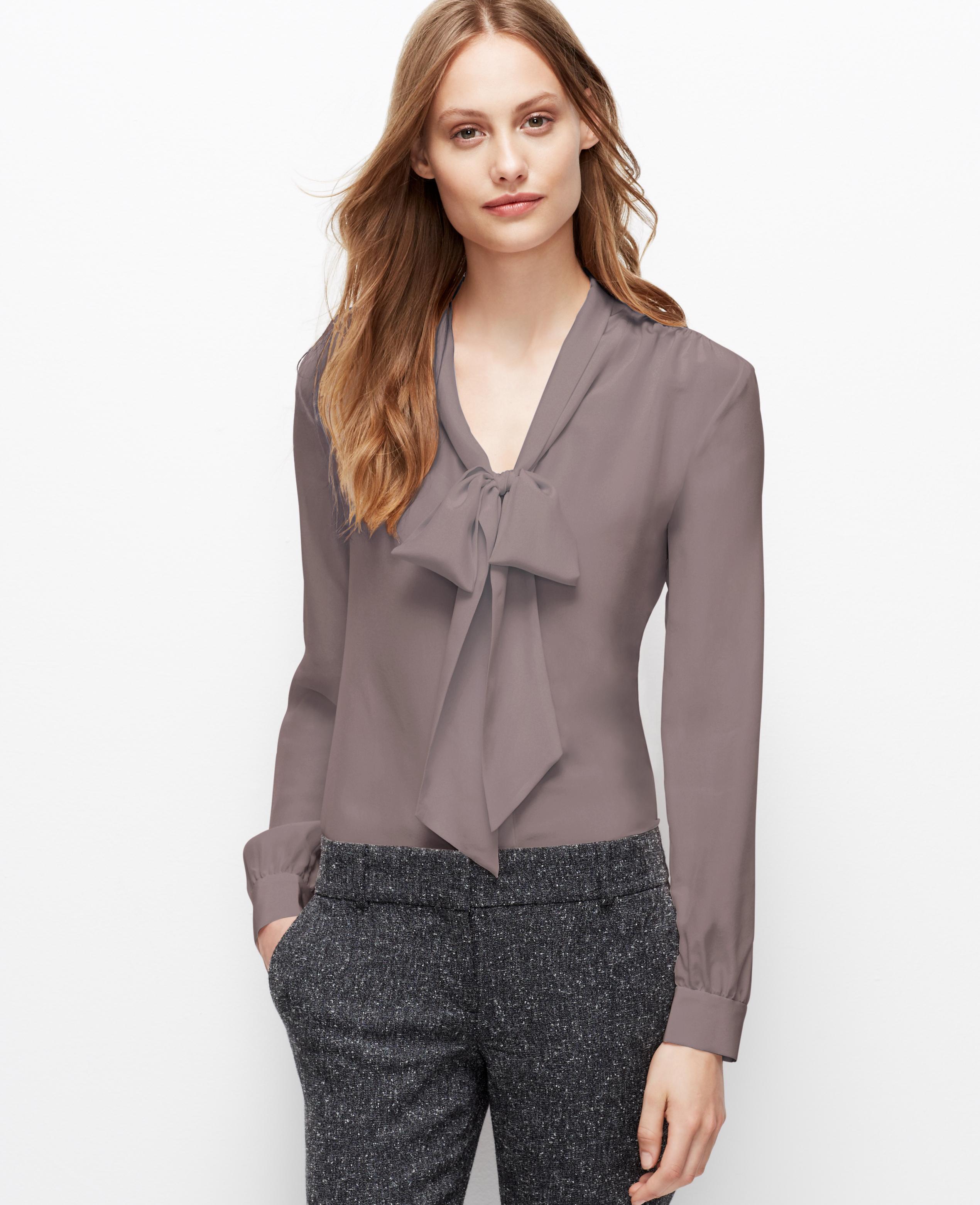 Ann Taylor Petite Silk Tie Neck Blouse in Gray (Modern Mink) | Lyst