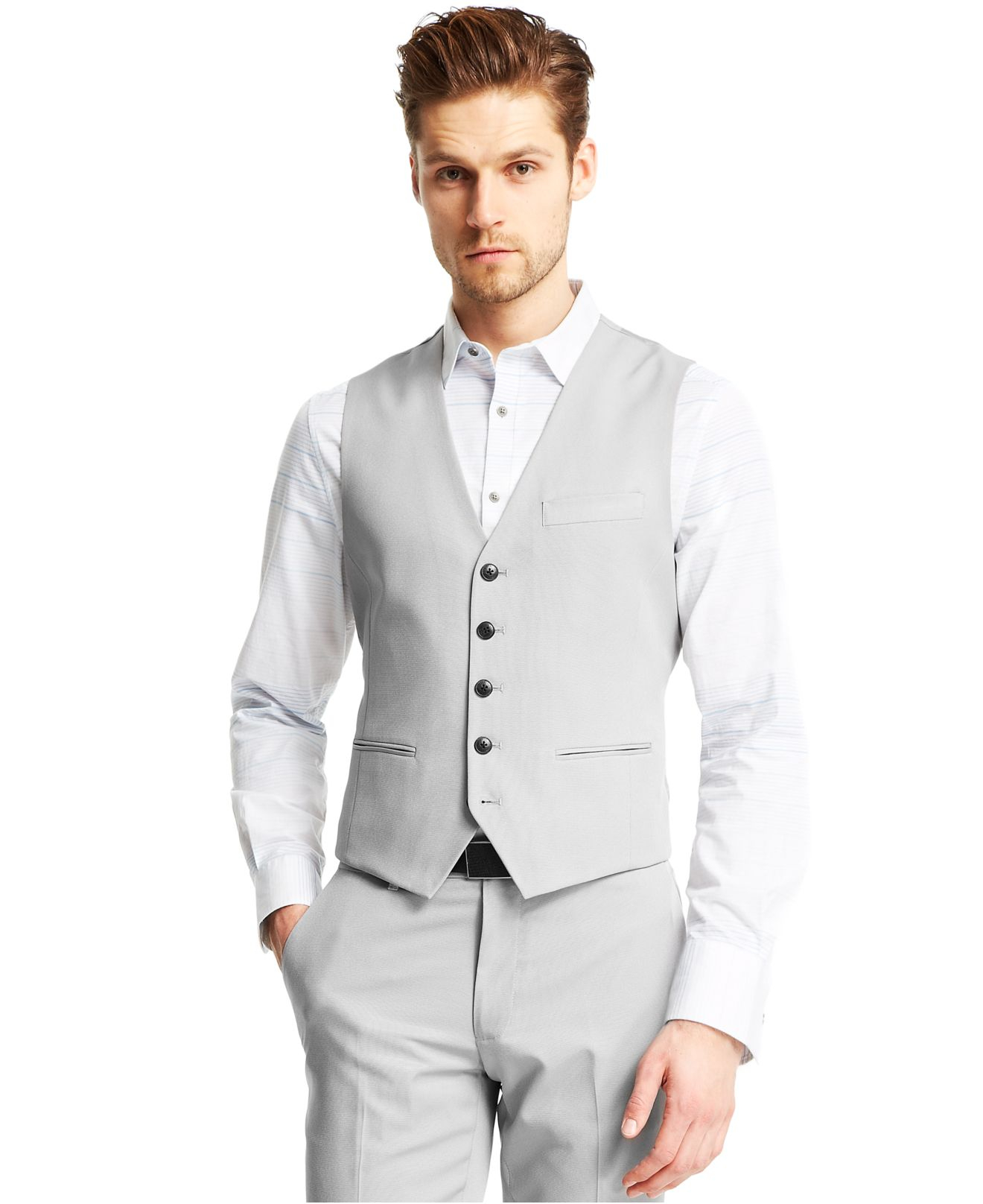 how to wear a grey vest