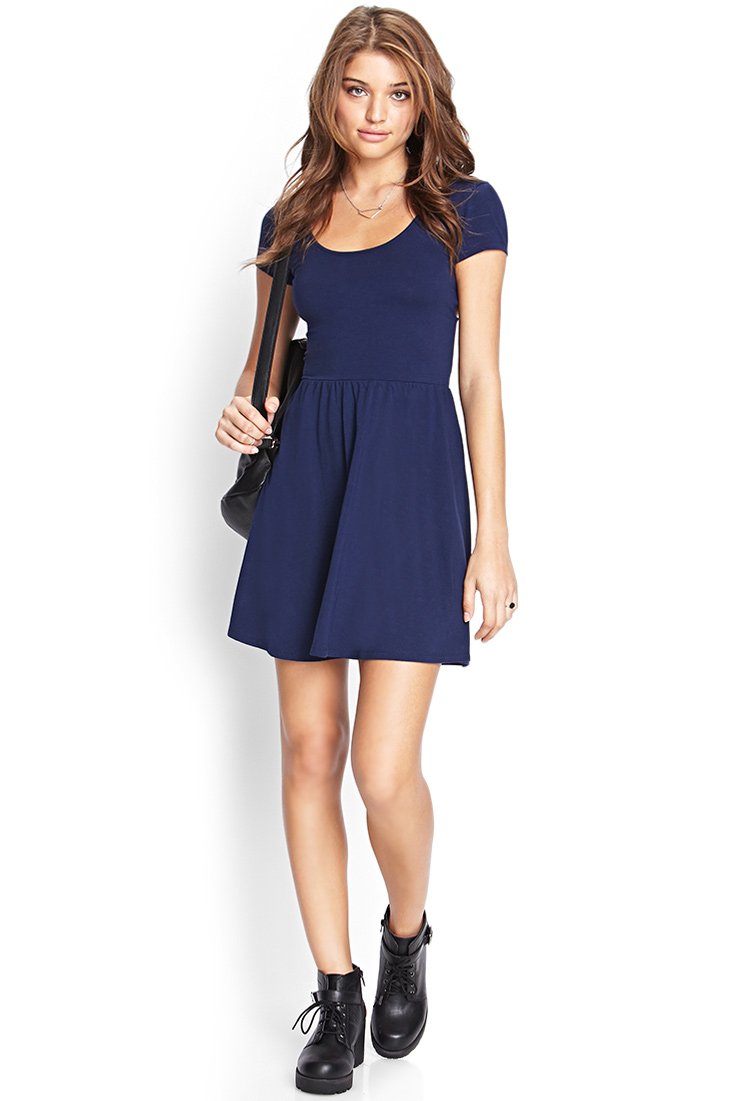 Forever 21 Cutout Fit Amp Flare Dress In Navy Blue Lyst