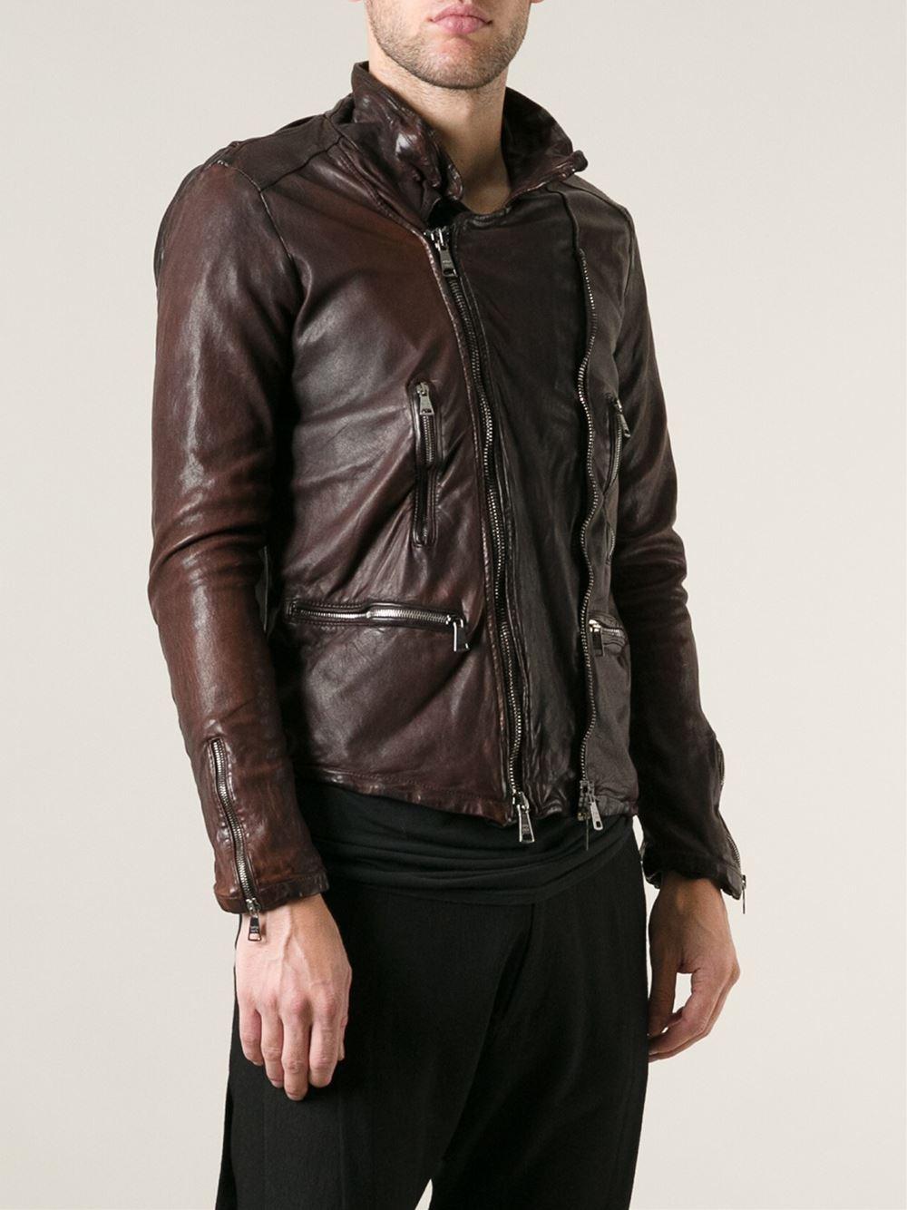Giorgio Brato Distressed Zip Jacket In Brown For Men Lyst
