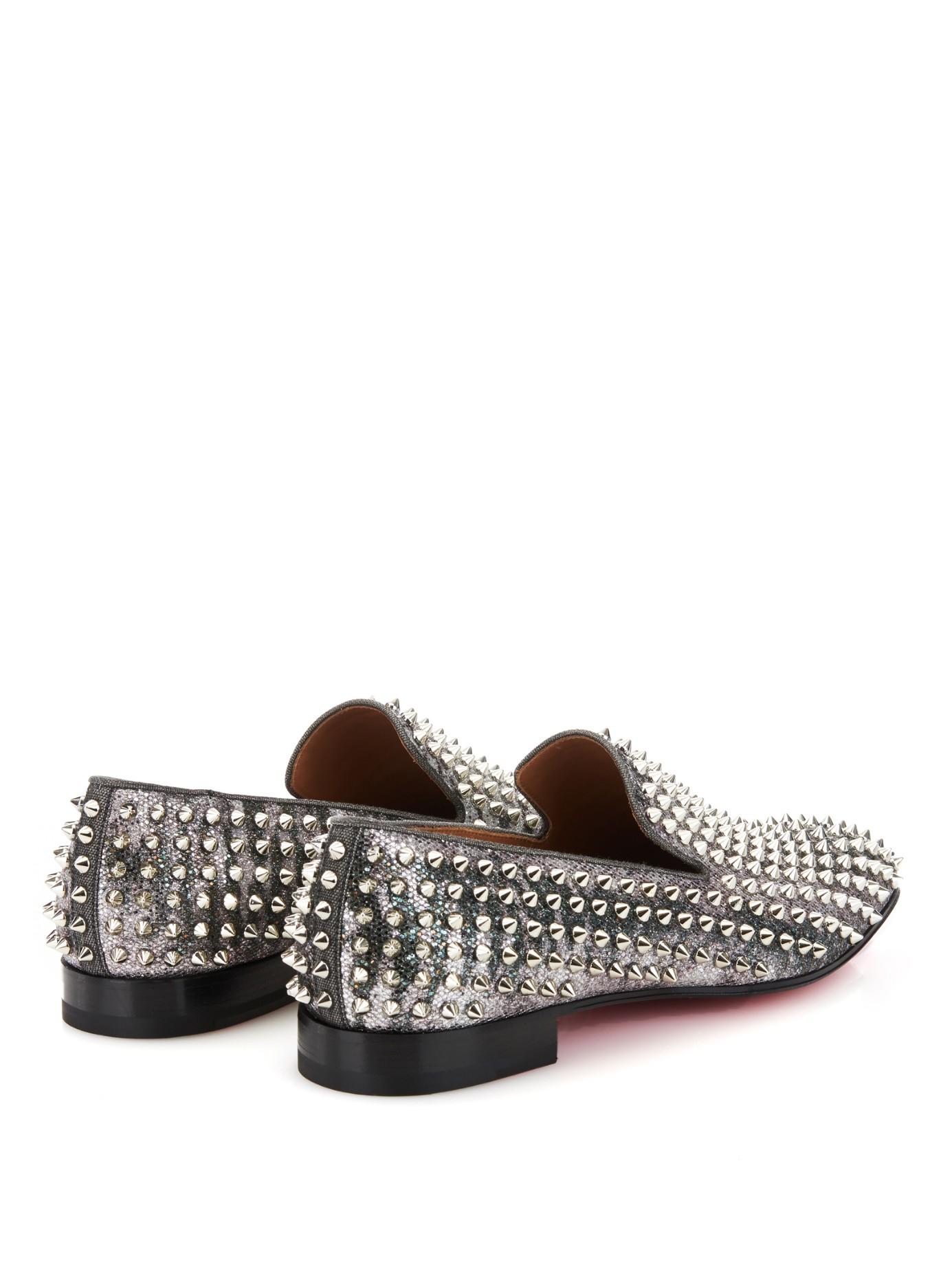 Christian louboutin Dandelion Studded Glitter Loafers in Silver ...