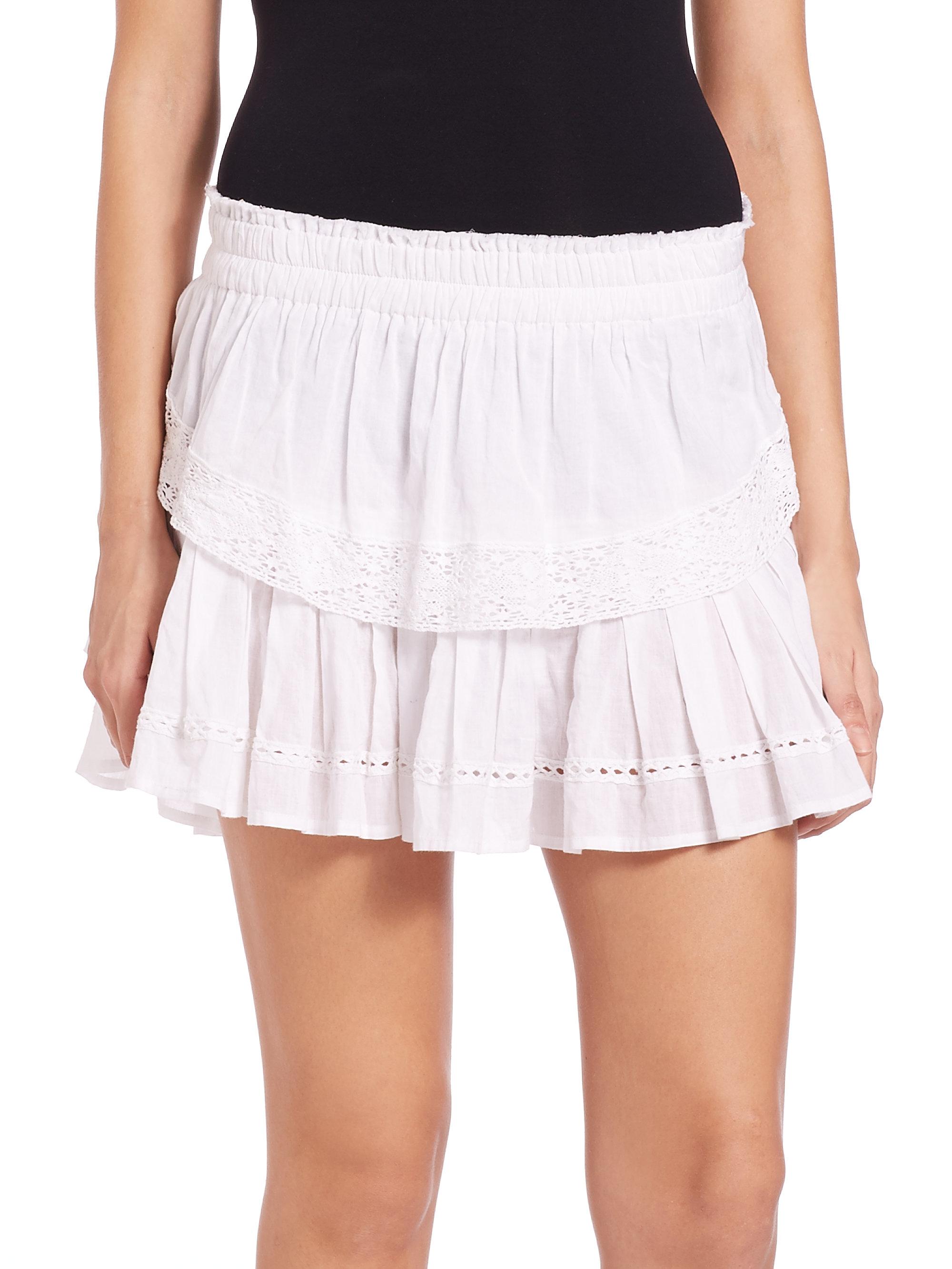 fe8bc4758 LoveShackFancy Cotton Ruffle Skirt in White - Lyst