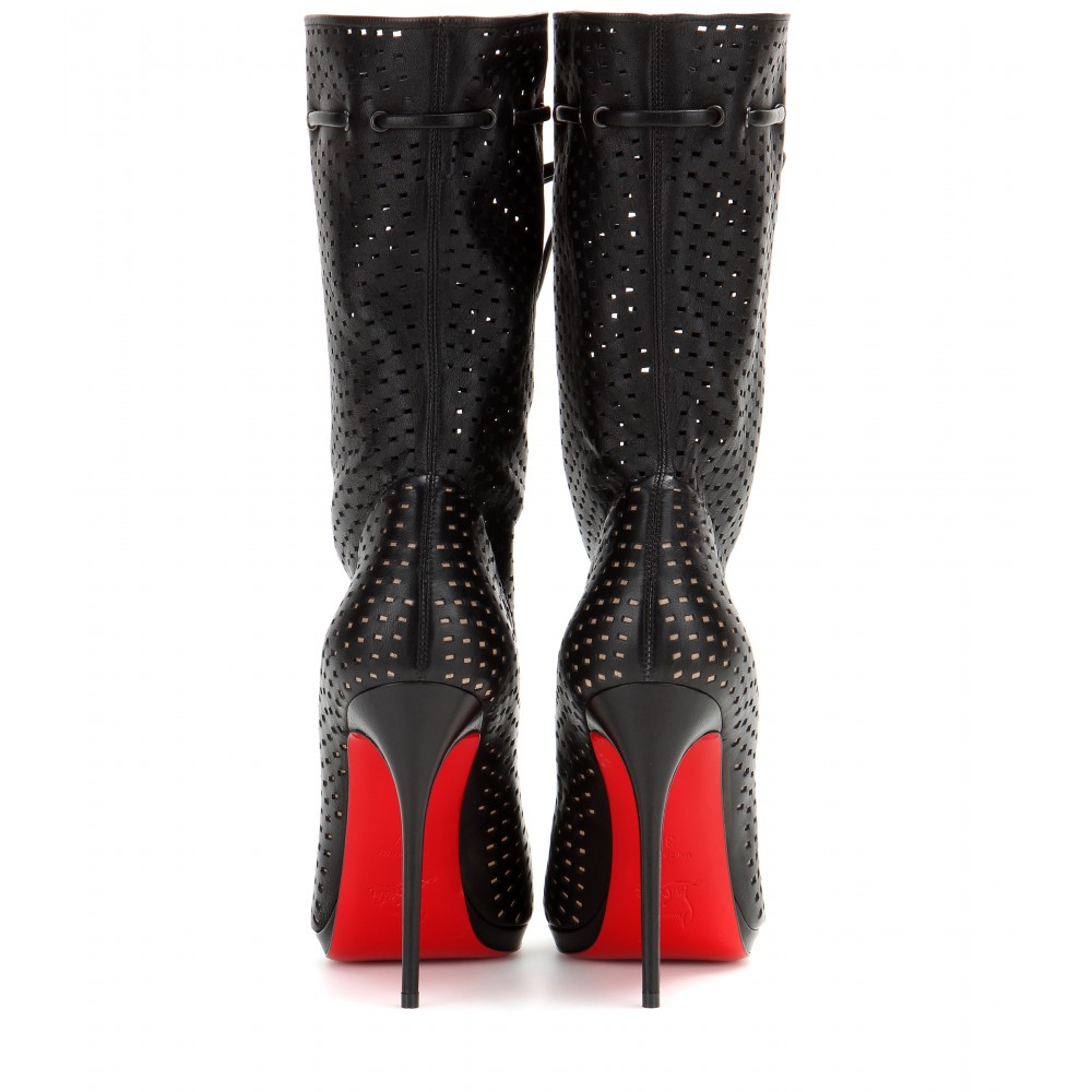 christian louboutin Jennifer ankle boots Black perforated leather ...