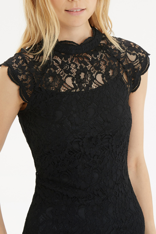 Oasis black lace panel dress